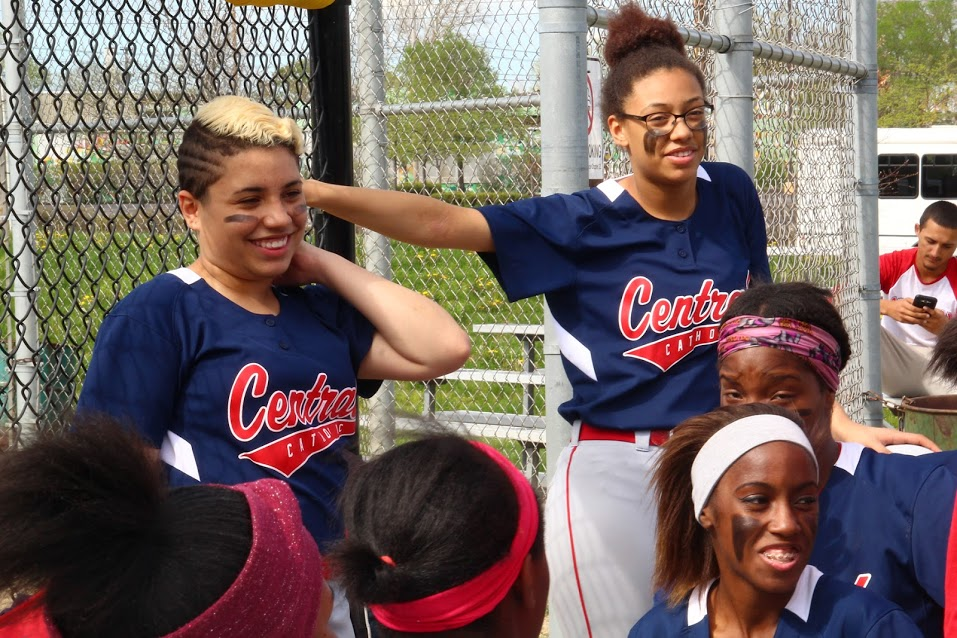 cleveland central catholic softball team in dugout