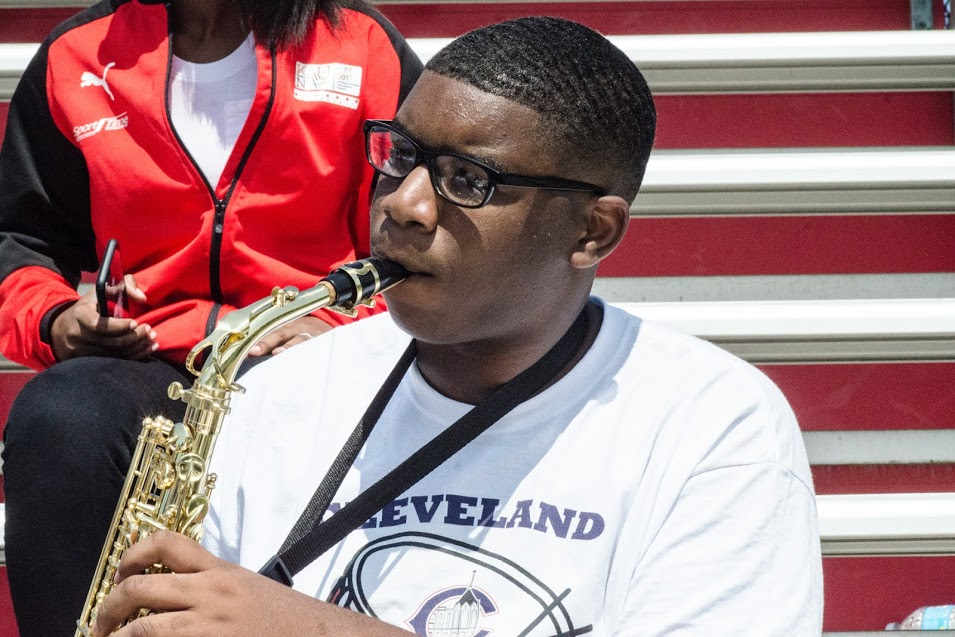cleveland central catholic band member playing sax