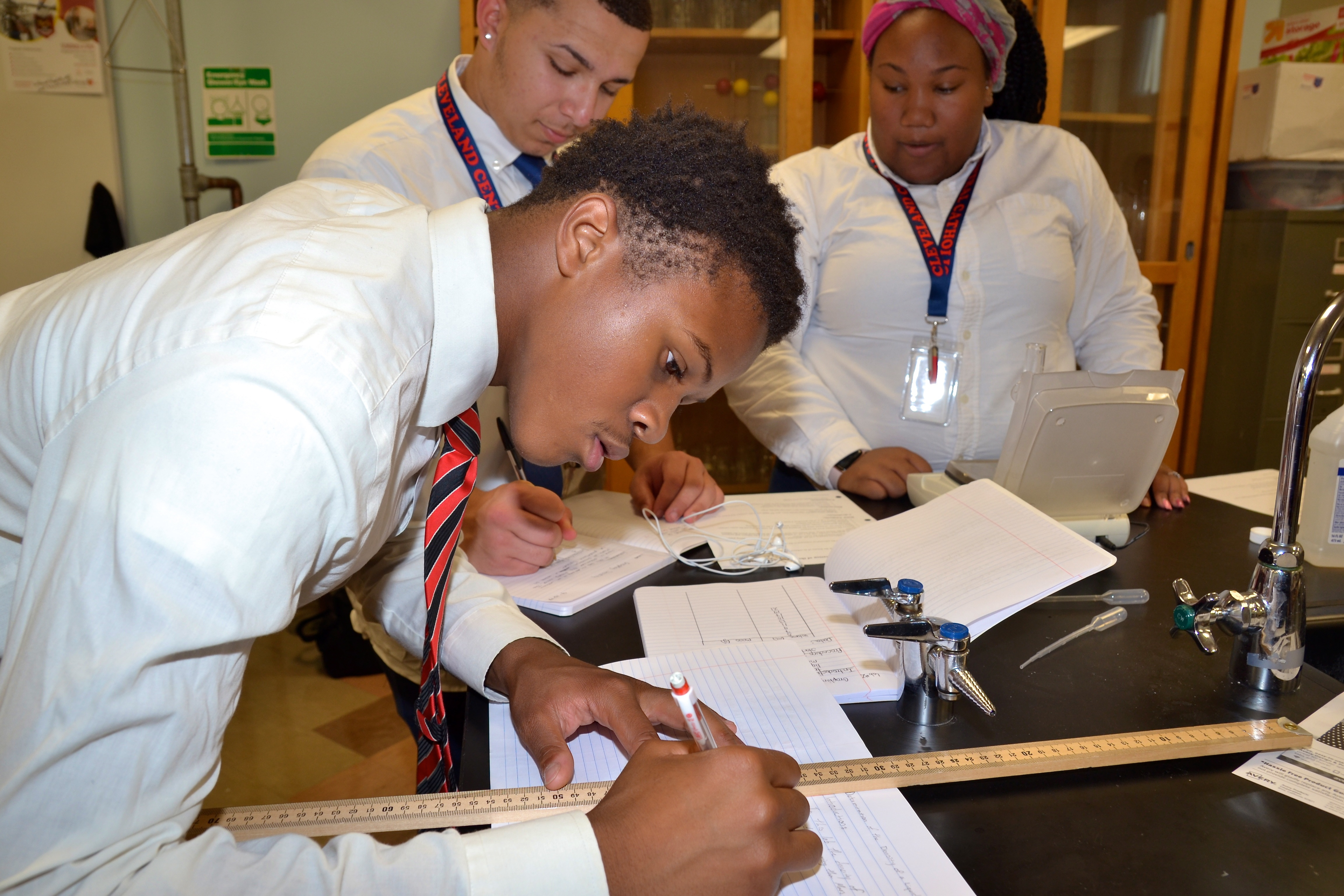 cleveland central catholic high school students in science lab